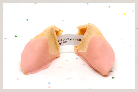 550 Strawberry White Chocolate Dipped Fortune Cookies
