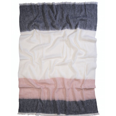 The Picnic Stripe Alpaca Blanket - Misty Rose