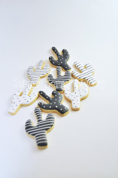 Cactus Cacti Sugar Cookies  - Desert - Arizona Love - Wild West - wedding favor - gift - local love - South west - modern - black - white