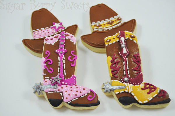 Cactus, Cowboy and cowgirl Hat And Boots Sugar Cookies - 1 Dozen - Desert - Wild West - SouthWest - Cute decorated Iced sugar Cookies