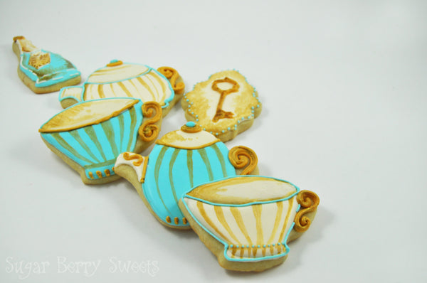 Assorted  Vintage - Antique - Tea Party - Alice in Wonderland -Cookies - 1 Dozen - detailed Victorian sugar cookies - Marie Antoinette