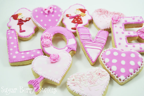 Valentine's Day Assorted pink Sugar Cookies - LOVE - Hearts - roses - flowers - 1 dozen Cute sugar cookies - Perfect sweet Valentine's Gift