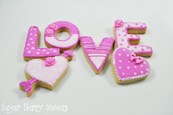 Valentine's Day Sugar Cookies - pink LOVE and hearts  - 1/2 dozen Cute decorated sugar cookies - Perfect Sweet Gift