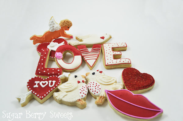 Valentine's Day Assorted Sugar Cookies - LOVE Birds - Hearts  - kiss - Dove  - Cupid - 1 dozen - cute - Romantic - Perfect sweet Gift