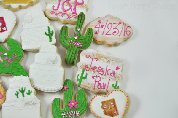 One dozen Vintage Desert Wedding cake - Arizona- Cactus Sugar Cookies -  Country Chic - Rustic - Customizable - Personalized - Wedding favor