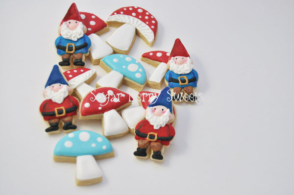 Spring  - Summer - Lawn Gnome Cookies - 1 Dozen -cute decorated -birthday- party - dwarf - toadstool - garden party - fairy tale - snowwhite
