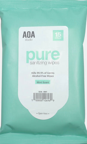 AOA Pure Sanitizing Wipes - Mint