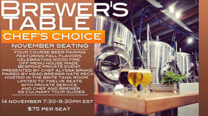 Brewer's Table Chef's Choice November Seating | 14 November 2019 | Beer Church University Ticket Portal