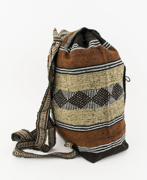 "Mexican ""Morrito"" Brown Earth Backpack Lillo Boho Woven Baja Bag"