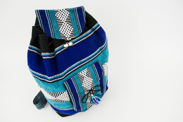 "Mexican Blanket ""Mariner"" Multicolor Backpack Lillo Boho Colorful Woven Baja Bag Aztec"