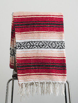 Mexican Blanket Red & Coral Yoga Blanket, Hand Woven, Sarape, Throw Falsa