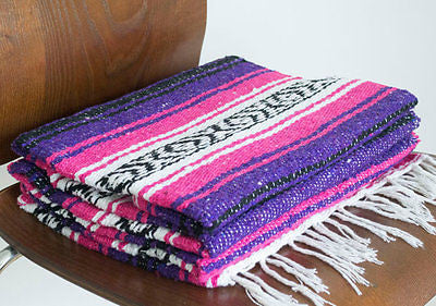 Mexican Blanket Premium Pink & Purple Yoga Blanket, Hand Woven, Sarape, Throw