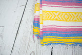 Mexican Blanket Premium Pastel Yellow & Blue Yoga Blanket, Hand Woven, Sarape Throw