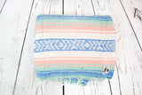 Mexican Blanket Premium Pastel Coral & Blue Yoga Blanket, Hand Woven, Sarape Throw