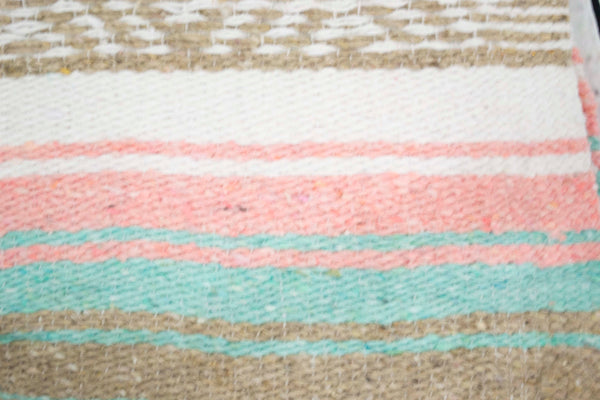 Mexican Blanket Premium Pastel Mint & Coral Wheat Yoga Blanket, Hand Woven, Sarape Throw
