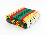 Mexican Blanket Rasta 420 Green & Orange Yoga Blanket Hand Woven Aztec Throw