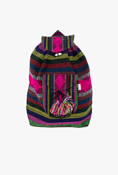 "Mexican ""Legacy"" Pink Multicolor Backpack Lillo Boho Woven Baja Bag"