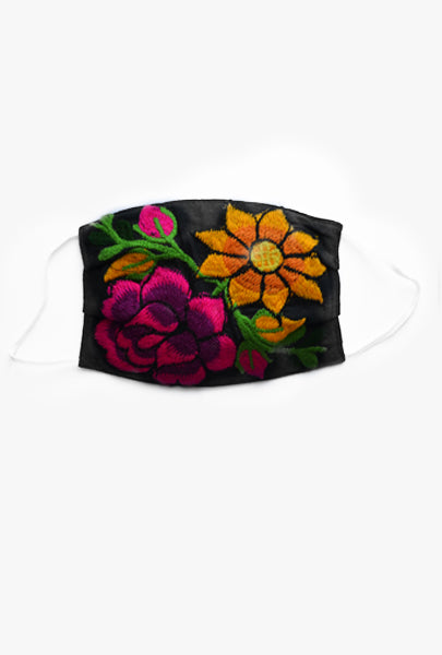 Hand embroidered washable face mask floral