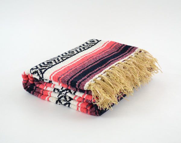 Mexican Blanket Coral / Peach Yoga Blanket, Hand Woven, Aztec,Throw Falsa