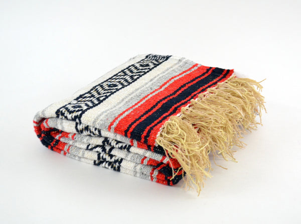 Mexican Blanket Red and Grey Yoga Blanket, Hand Woven, Aztec,Throw Falsa