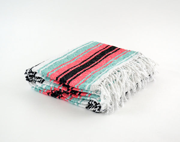 Mexican Blanket Premium Mint & Coral Yoga Blanket, Hand Woven, Sarape Throw