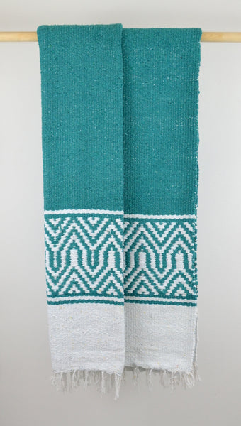 Mexican Blanket Throw | Teal and White | Chunky Knit Handmade Folk Blanket