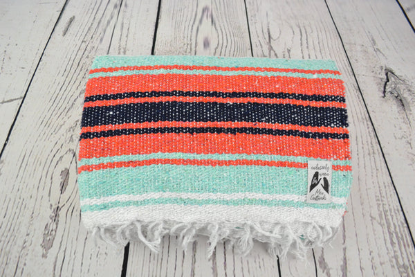 Mexican Blanket Premium Brick Orange & Mint Yoga Blanket, Throw Falsa, Handwoven Sarape