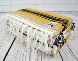 Mexican Blanket Premium Yellow & Tan Yoga Blanket, Hand Woven, Sarape, Throw