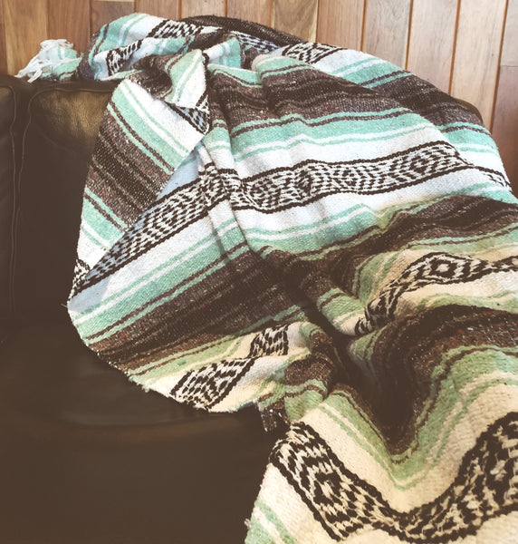Mexican Blanket Premium Aquamarine, Mint & Grey Yoga Blanket, Hand Woven, Sarape Throw
