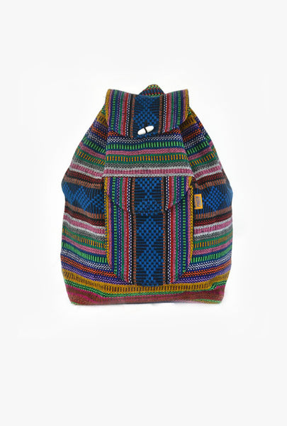 "Mexican Blanket ""Binary Lights"" Multicolor Backpack Pinzon Boho Colorful Woven Baja Bag Aztec"