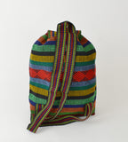 "Mexican ""Marley"" Green with Red Backpack Pinzon Boho Woven Baja Bag"