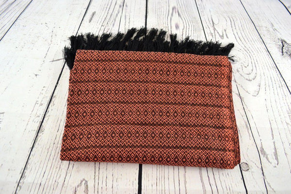 Sunset Orange Merida Rebozo Shawl Mexican Woven Blanket