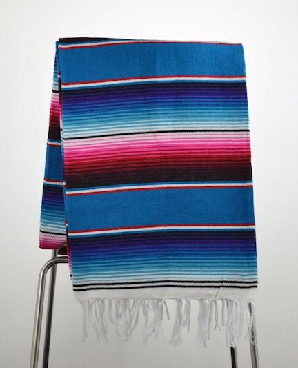 Mexican Blanket Saltillo Style Blue Pink Handmade Serape Premium Fabric