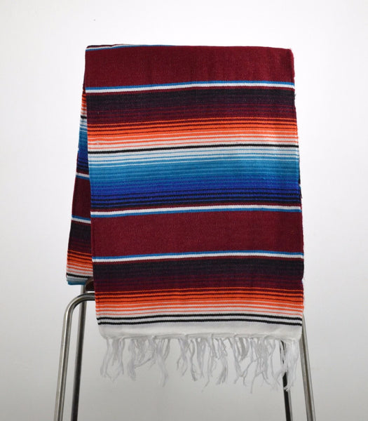 Mexican Blanket Saltillo Style Burghundy Handmade Serape Premium Fabric