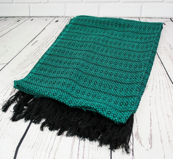 PATINA TEAL MERIDA REBOZO SHAWL MEXICAN BLANKET 75x30