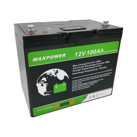 EMA MaxPower 100Ah LiFePO4 Deep Cycle Lithium Battery with Built-in Battery Management System