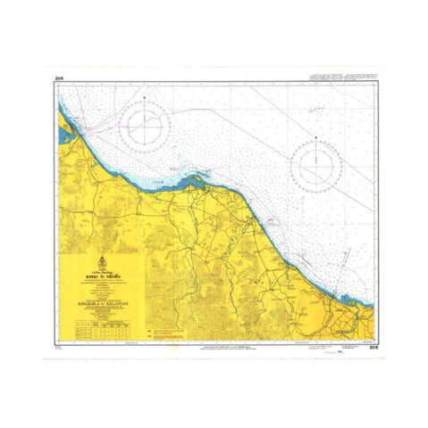 Marine Chart Thailand (Gulf of Thai - West) 206 Songkhla to Kelantan