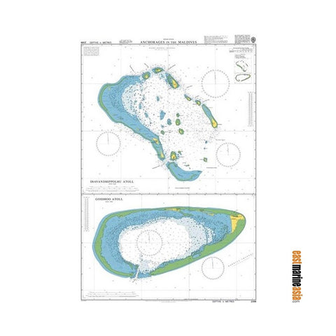 British Admiralty Nautical Chart #2068 Anchorages in The Maldives