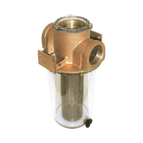 Groco ARG Series Bronze Raw Water Strainer with Clear Sight Glass - NPT