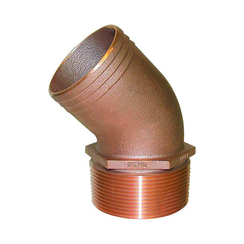 Groco PTHD Series 45° Bronze Pipe to Hose Standard Flow Fittings - NPT