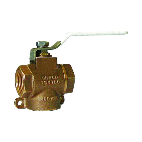 Groco TWV Series Bronze 3-Way Valve Fittings - NPT