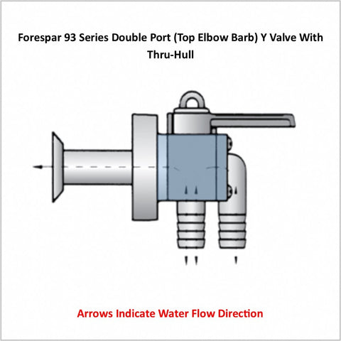 Forespar 93 Series Double Port (Top Elbow Barb) Y Valve With Thru-Hull