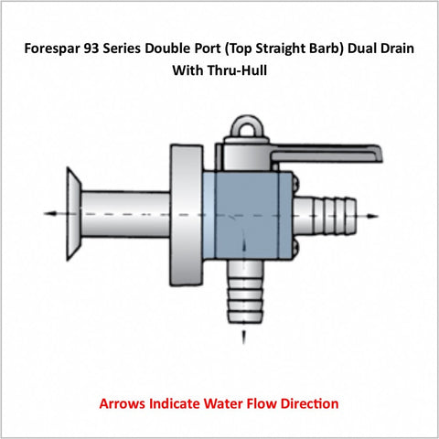 Forespar 93 Series Double Port (Top Straight Barb) Dual Drain With Thru-Hull