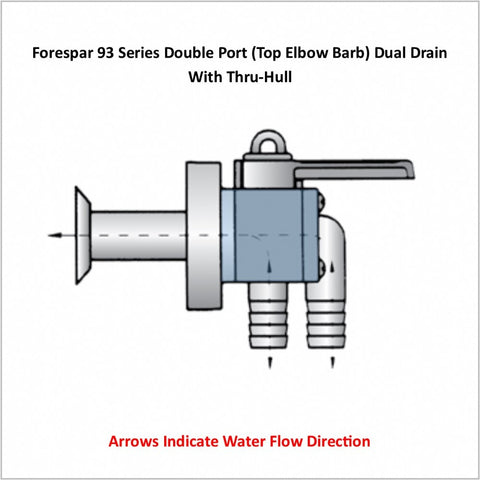 Forespar 93 Series Double Port (Top Elbow Barb) Dual Drain With Thru-Hull