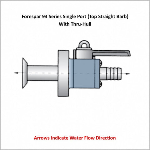 Forespar 93 Series Single Port (Top Straight Barb) With Thru-Hull