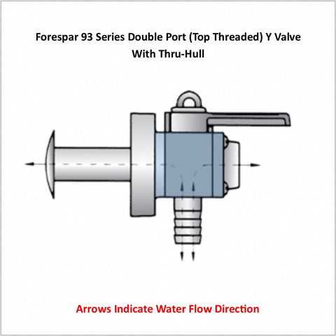 Forespar 93 Series Double Port (Top Threaded) Y Valve With Thru-Hull