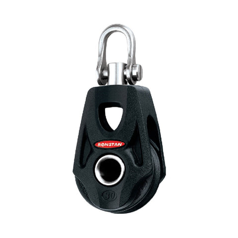 Ronstan Series 30 SP Single Orbit Block (with Nylatron Sheave) - Becket Hub, Swivel Shackle Head