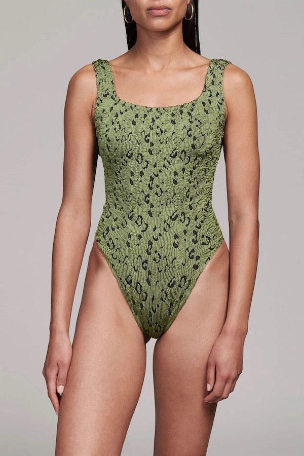 Girls with Gems | Classic Square Neck Swim - Metallic Moss Leopard | Hunza G