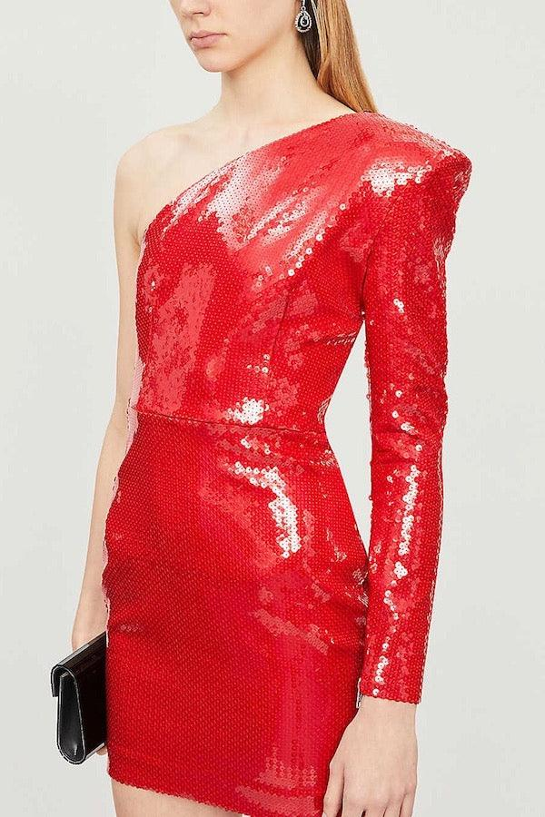 Alex Perry | Copper Red Sequin One Shoulder Mini| Girls with Gems
