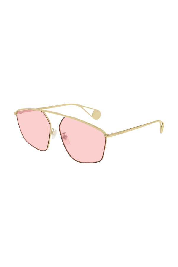 Specialized Fit Square-Frame Sunglasses Gold Metal Pink Glass